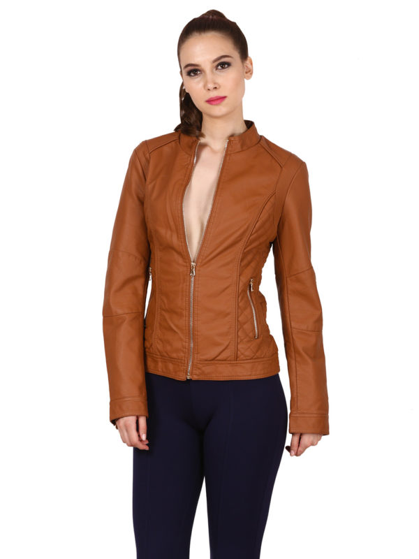 brown lather jecket, leather jacket for women ,women leather jacket modny.in