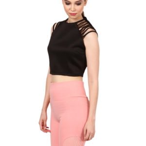 Black Stripe cut shoulder crop top modny.com